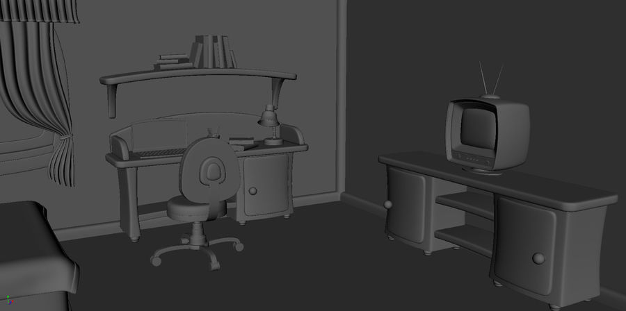 Çizgi film çocuk odası iç royalty-free 3d model - Preview no. 7