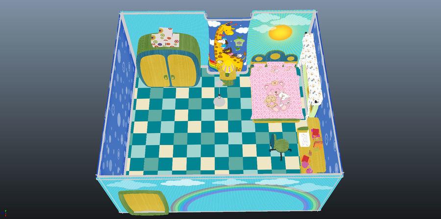 Çizgi film çocuk odası iç royalty-free 3d model - Preview no. 22