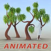 Tecknad animerad träduppsättning 3d model