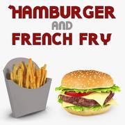 Hamburger and French Fry 3D Models 3d model