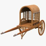 Chinese Wooden Carriage Chariot 3d model