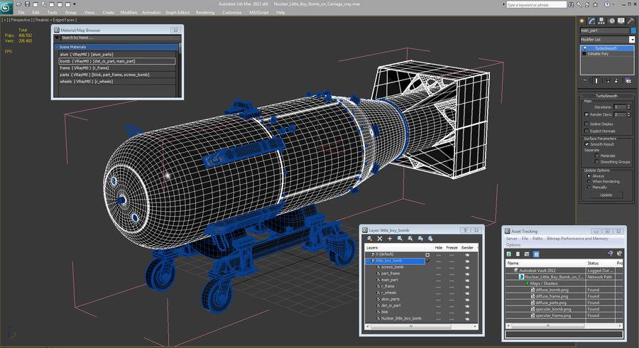 Bombe nucléaire de petit garçon sur le chariot royalty-free 3d model - Preview no. 18