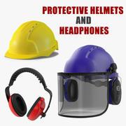 보호 헬멧 및 헤드폰 컬렉션 3d model