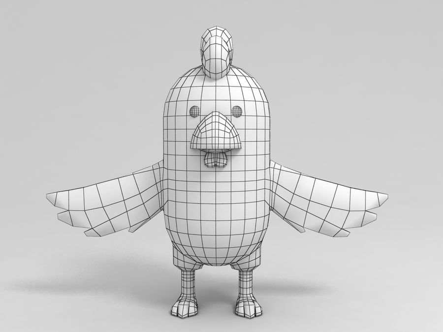 Brown Chicken Character royalty-free 3d model - Preview no. 8