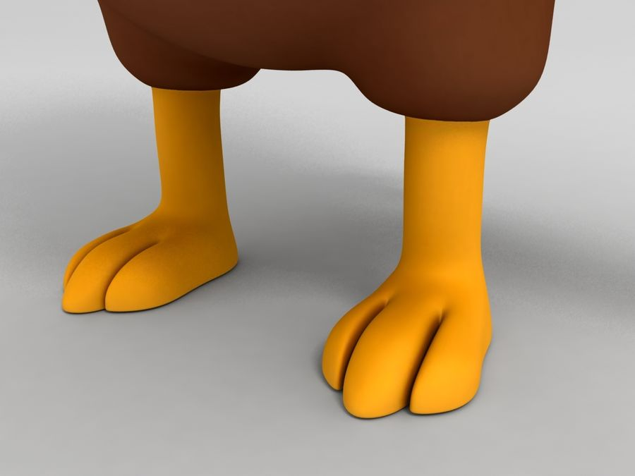 Brown Chicken Character royalty-free 3d model - Preview no. 6