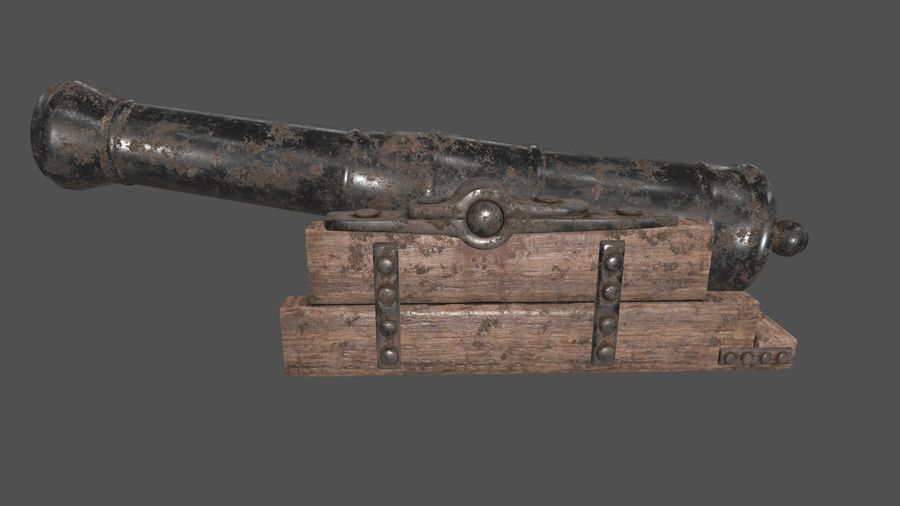 old canon royalty-free 3d model - Preview no. 5
