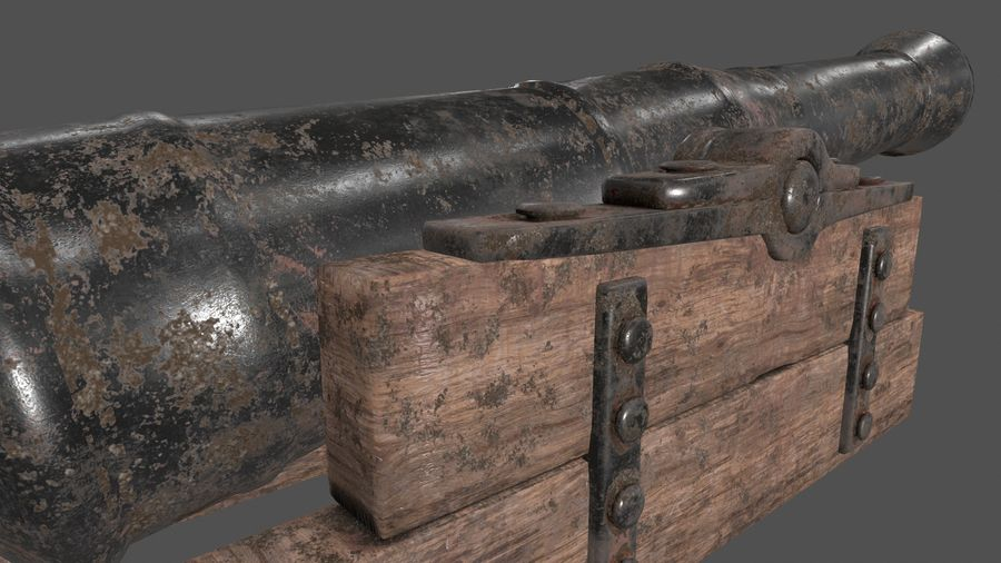 old canon royalty-free 3d model - Preview no. 9