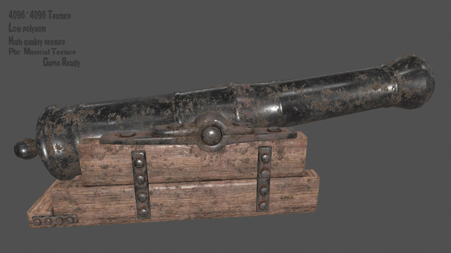 old canon royalty-free 3d model - Preview no. 1