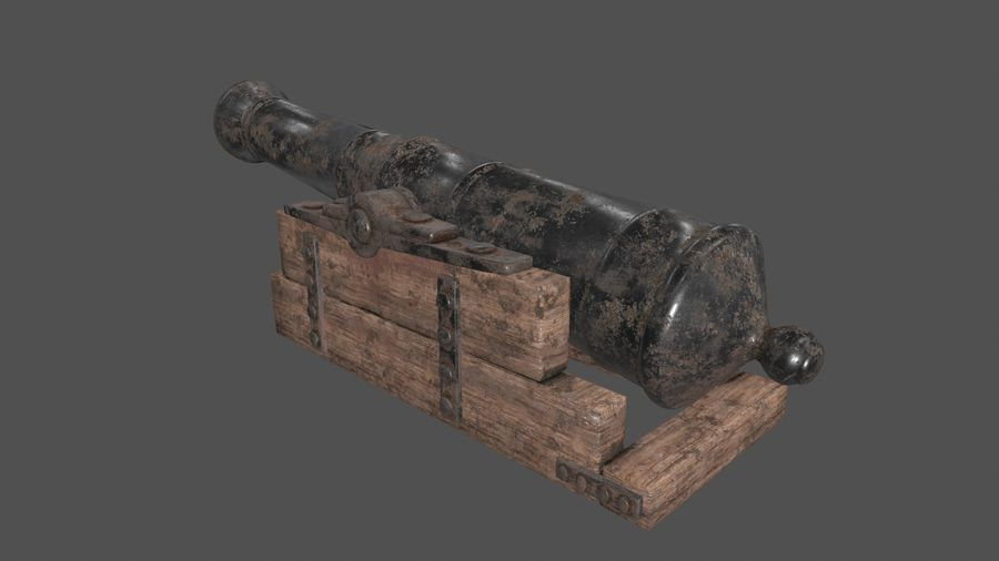 old canon royalty-free 3d model - Preview no. 4