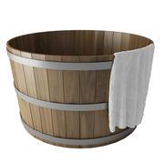 수건으로 나무 온수 욕조 3d model