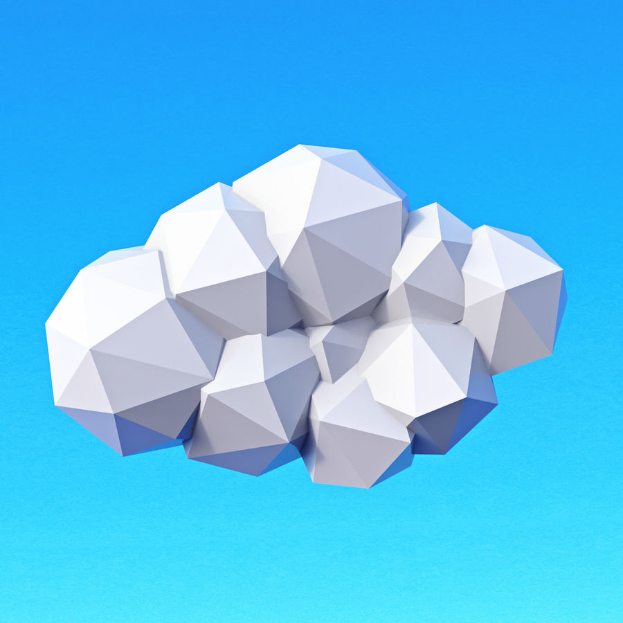 Pacchetto nuvole Low Poly royalty-free 3d model - Preview no. 6