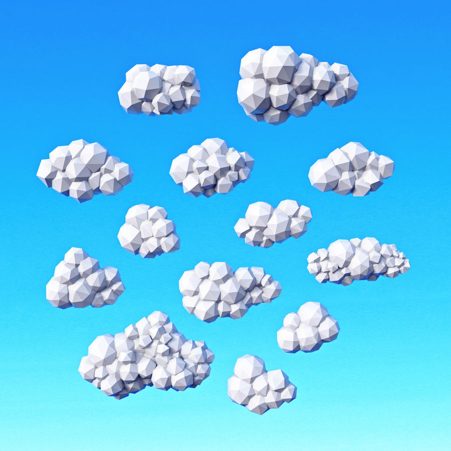 Clouds Pack Düşük Poli royalty-free 3d model - Preview no. 1