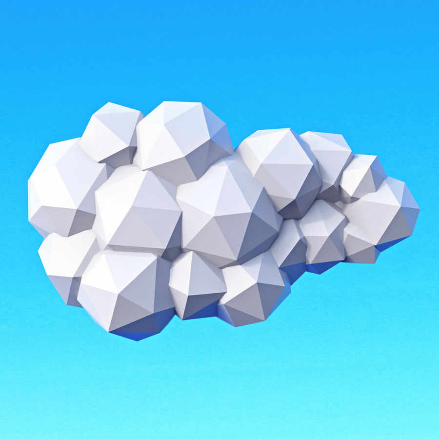 Pacchetto nuvole Low Poly royalty-free 3d model - Preview no. 10