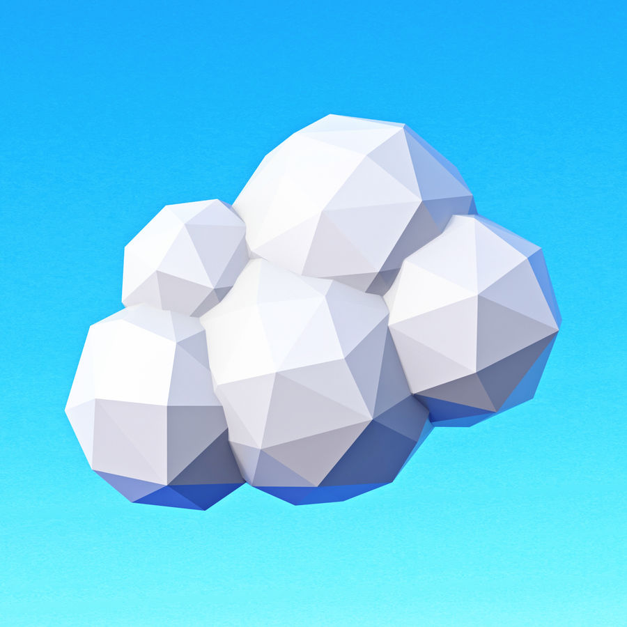 Clouds Pack Düşük Poli royalty-free 3d model - Preview no. 13