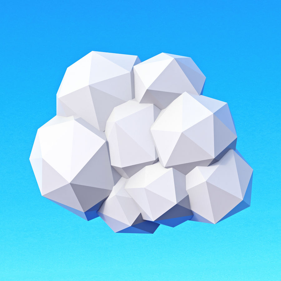 Pacchetto nuvole Low Poly royalty-free 3d model - Preview no. 7