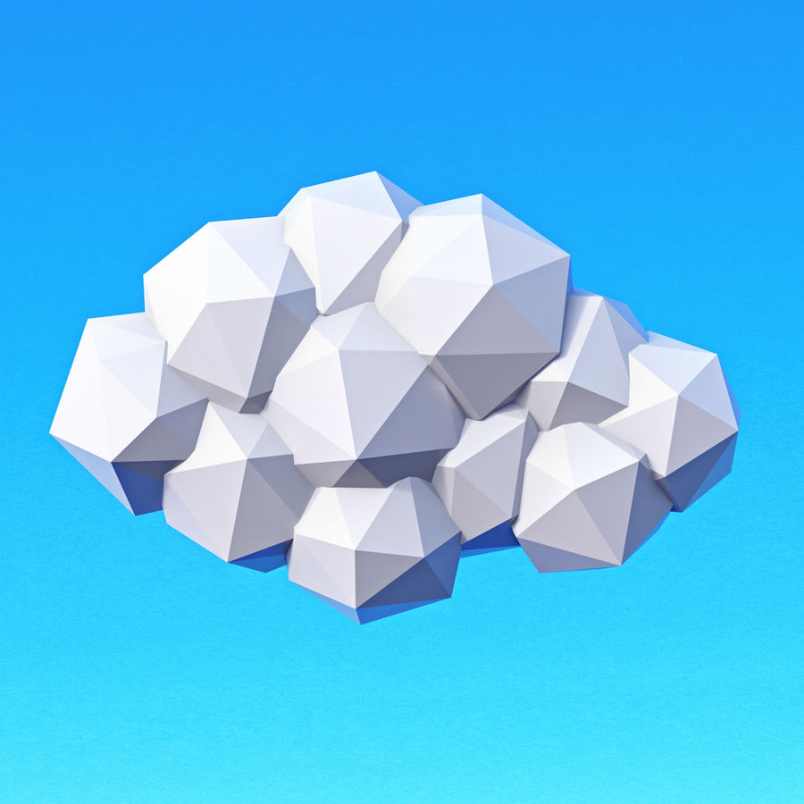 Pacchetto nuvole Low Poly royalty-free 3d model - Preview no. 4