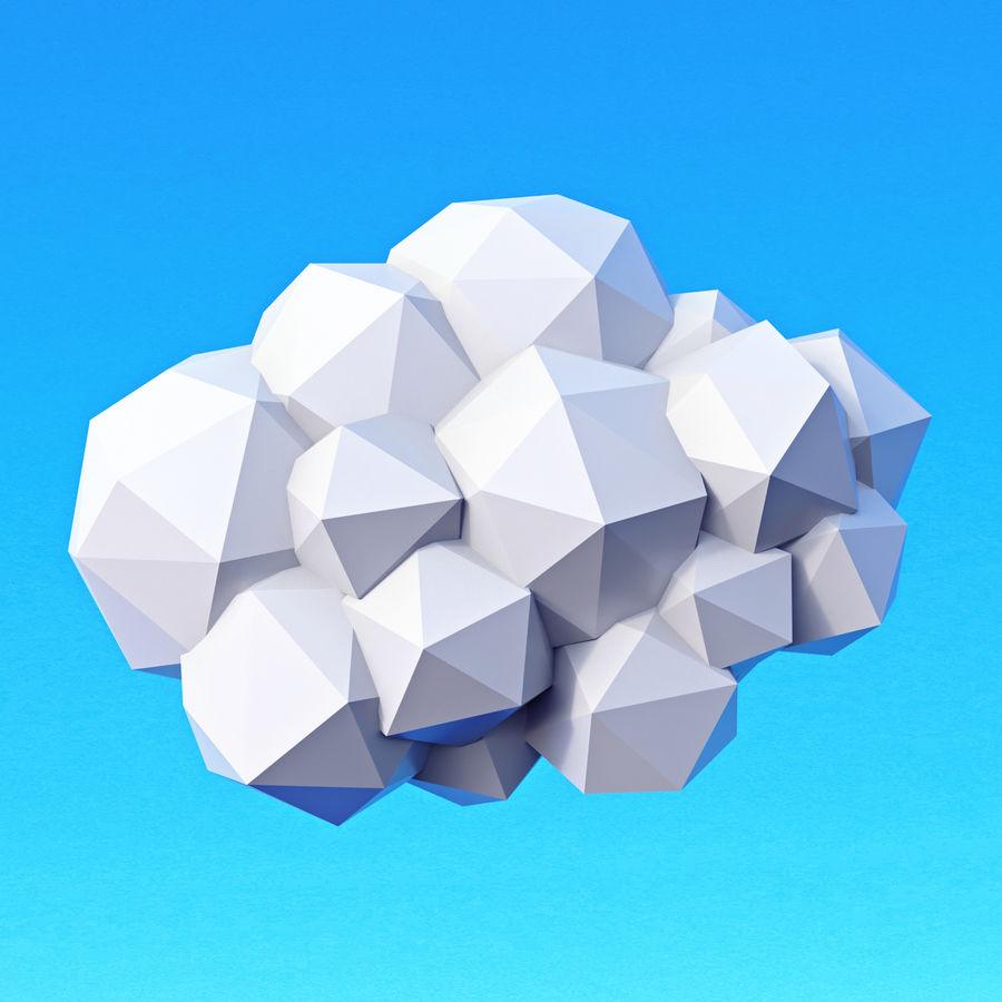 Clouds Pack Düşük Poli royalty-free 3d model - Preview no. 5