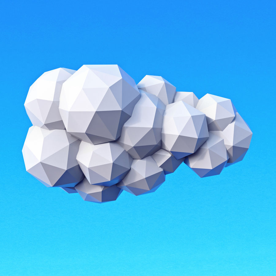 Clouds Pack Düşük Poli royalty-free 3d model - Preview no. 3
