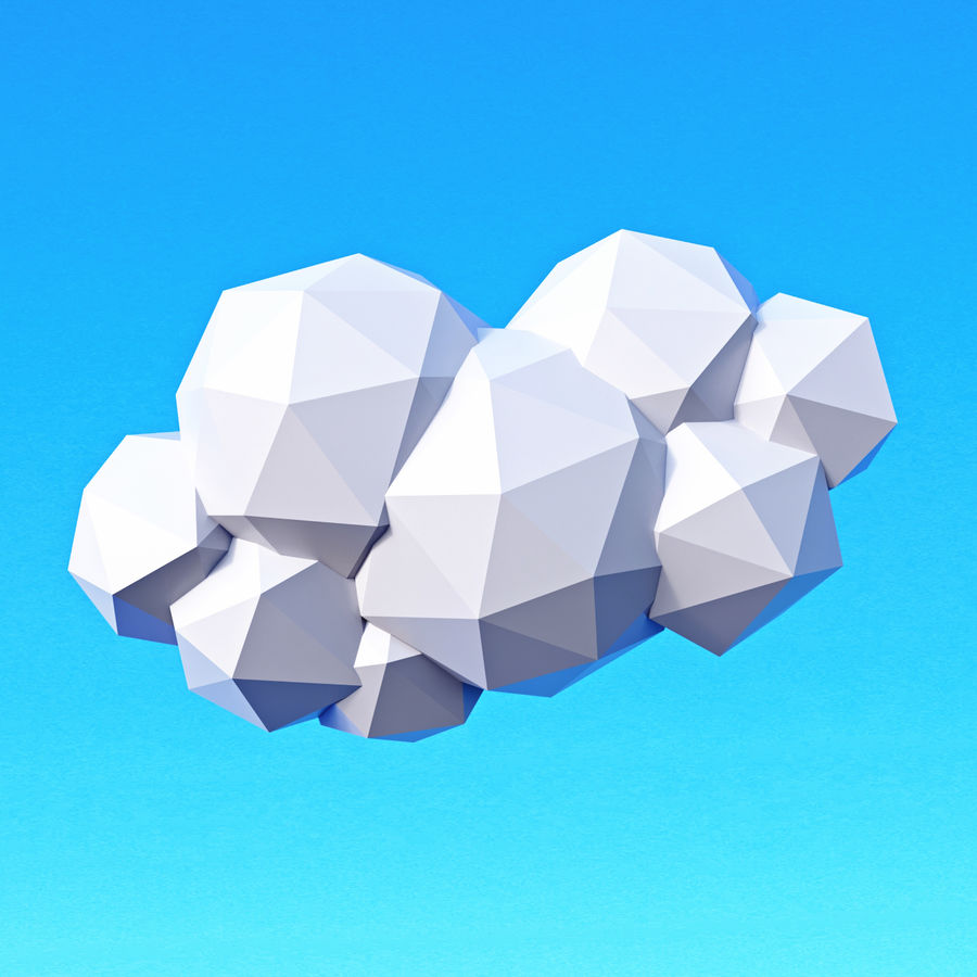 Pacchetto nuvole Low Poly royalty-free 3d model - Preview no. 8