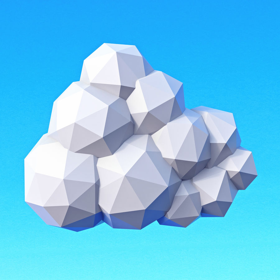 Pacchetto nuvole Low Poly royalty-free 3d model - Preview no. 9