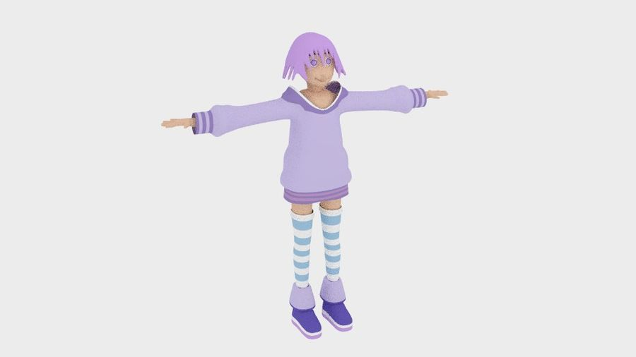 Anime Simple Character royalty-free 3d model - Preview no. 8
