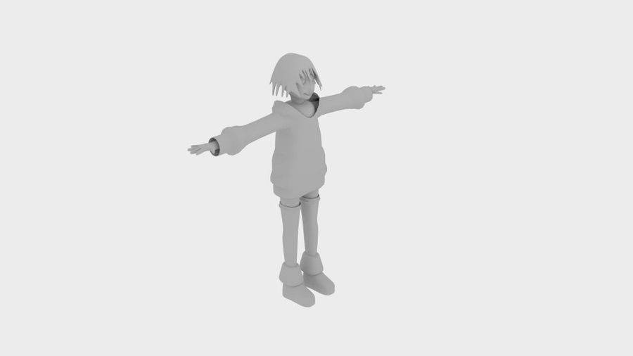 Personaggio anime semplice royalty-free 3d model - Preview no. 5
