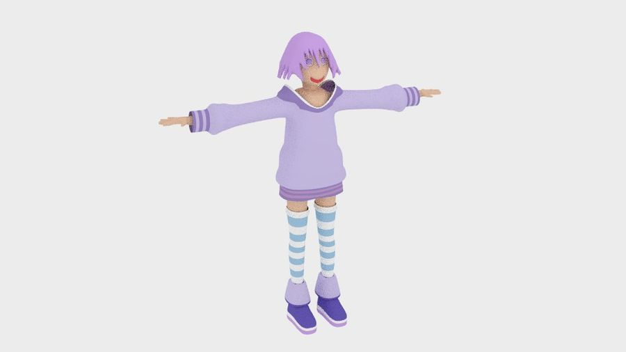 Anime Simple Character royalty-free 3d model - Preview no. 7