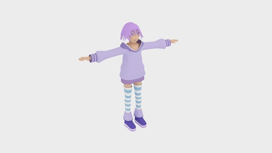 Personaggio anime semplice royalty-free 3d model - Preview no. 1