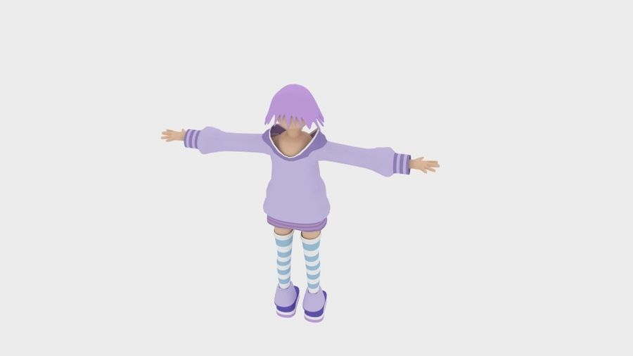 Anime Simple Character royalty-free 3d model - Preview no. 3