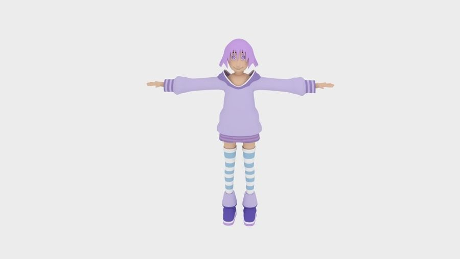Personaggio anime semplice royalty-free 3d model - Preview no. 2