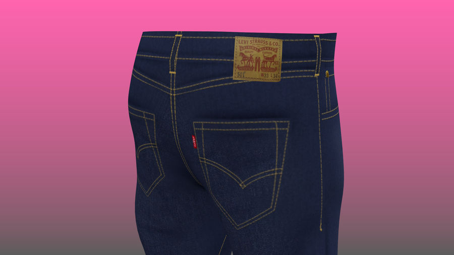 Levi's Jeans royalty-free 3d model - Preview no. 4