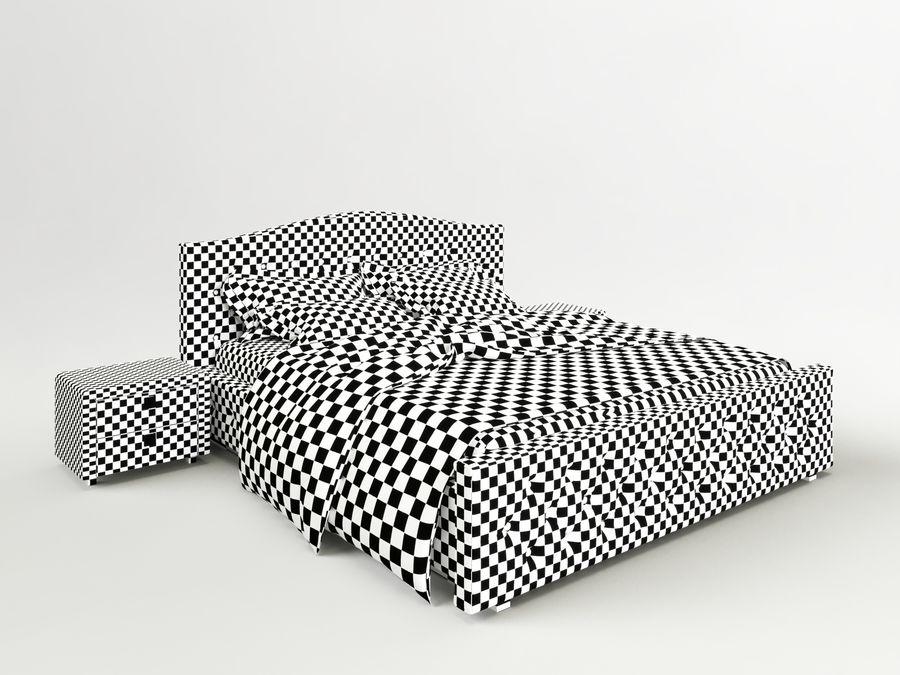 Lit double avec table de chevet royalty-free 3d model - Preview no. 4