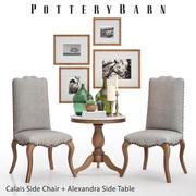 Pottery Barn Calais Sidstol + Alexandra Sidobord 3d model