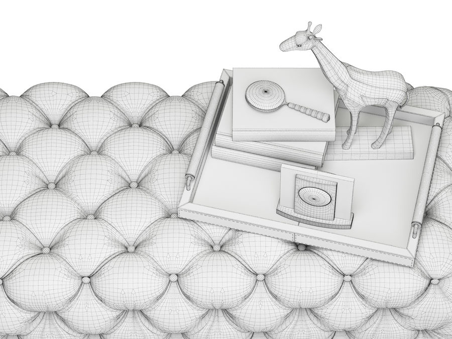 Zgallerie Jules Tufted Bench royalty-free 3d model - Preview no. 7