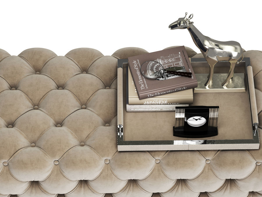 Zgallerie Jules Tufted Bench royalty-free 3d model - Preview no. 5