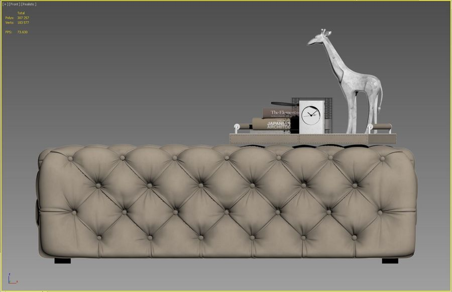 Zgallerie Jules Tufted Bench royalty-free 3d model - Preview no. 8