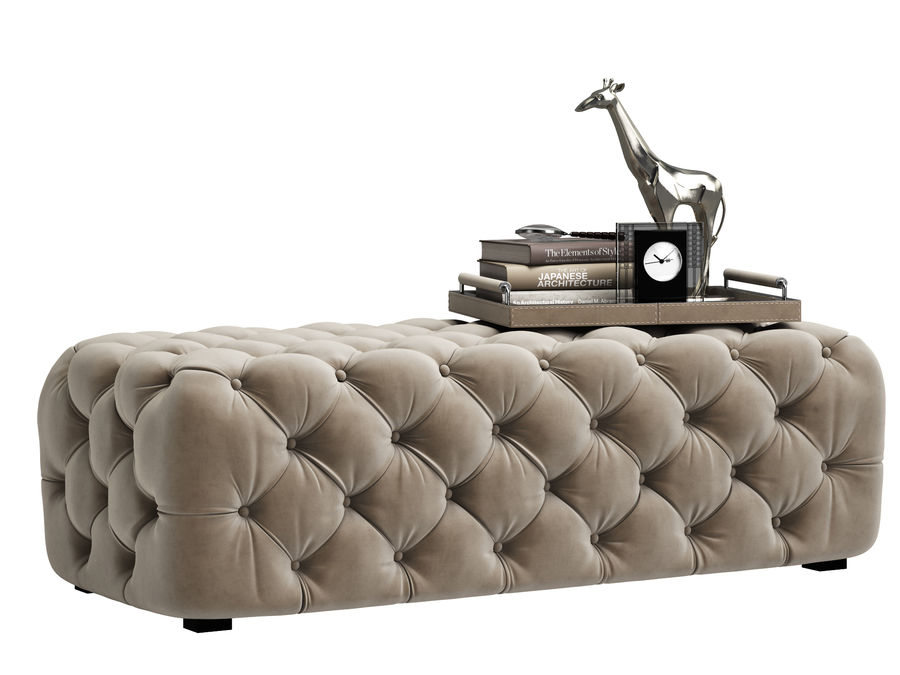 Zgallerie Jules Tufted Bench royalty-free 3d model - Preview no. 1