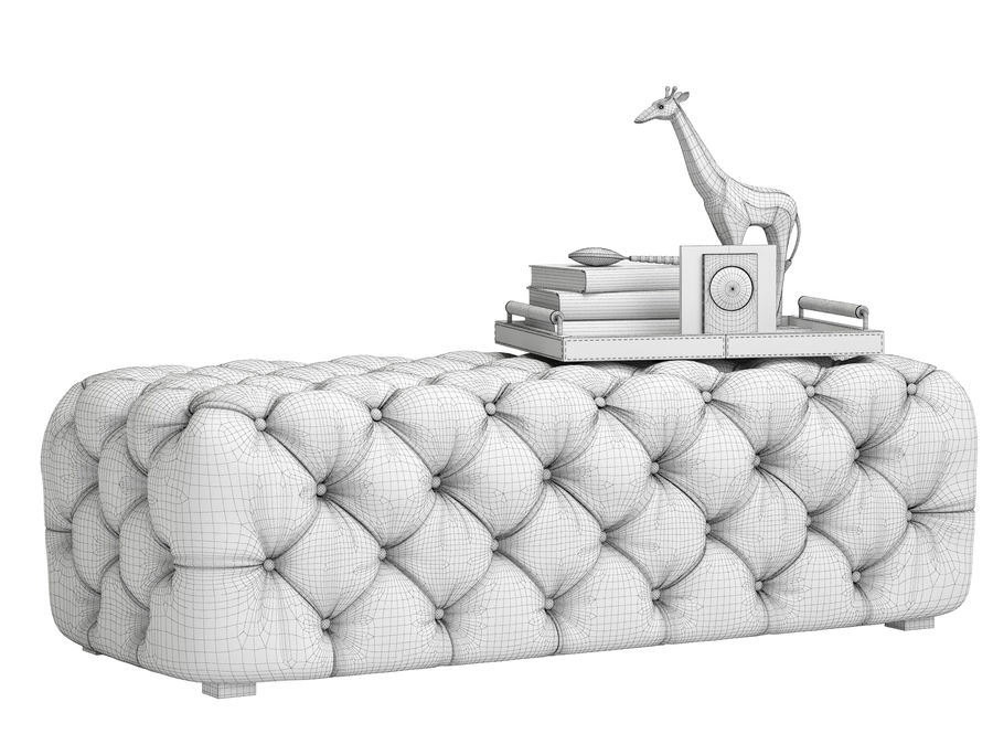 Zgallerie Jules Tufted Bench royalty-free 3d model - Preview no. 6