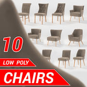 10 chairs set 3d model