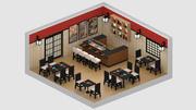 Restaurante japonés modelo 3d