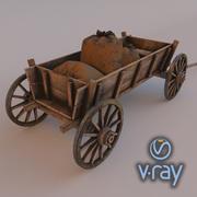 Wooden cart 3d model 3d model