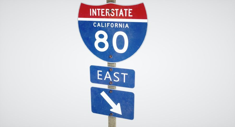 Freeway Sign royalty-free 3d model - Preview no. 6