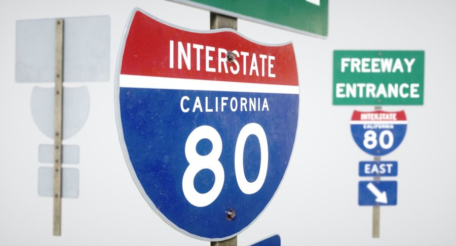Freeway Sign royalty-free 3d model - Preview no. 3