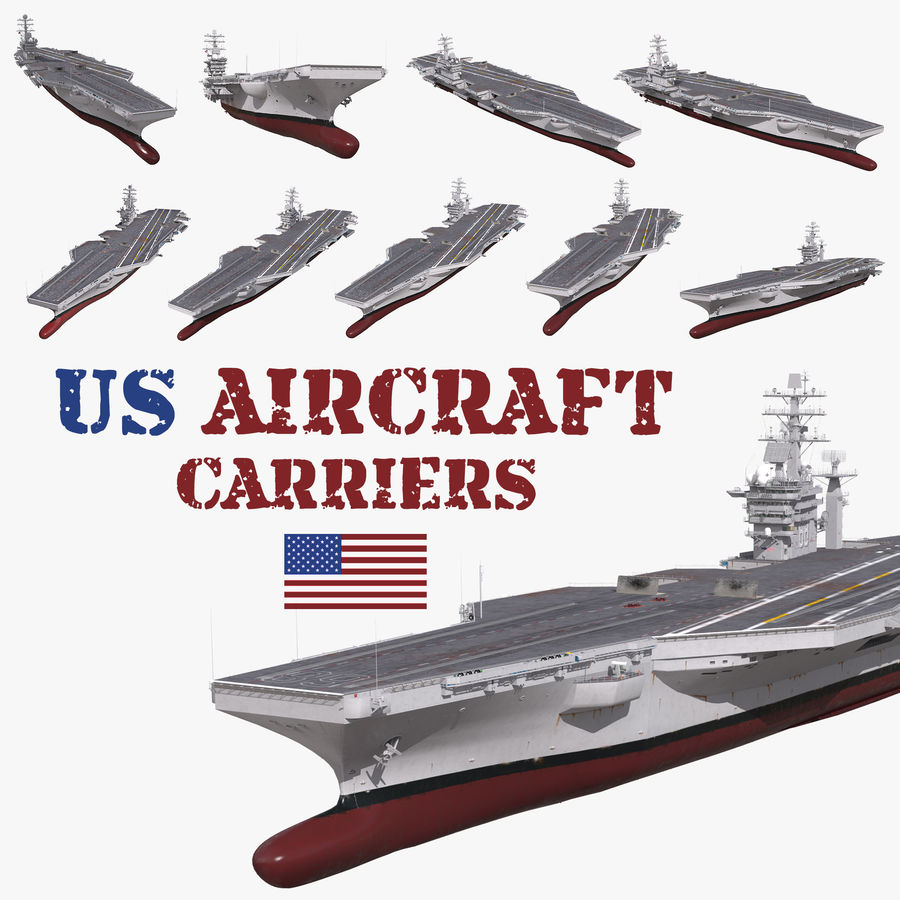 US Aircraft Carriers Collection royalty-free 3d model - Preview no. 1