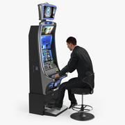 Человек, играющий в игровой автомат, украшенный мехом 3D-модель 3d model