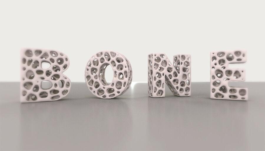 Voronoi bone structure alphabet royalty-free 3d model - Preview no. 2
