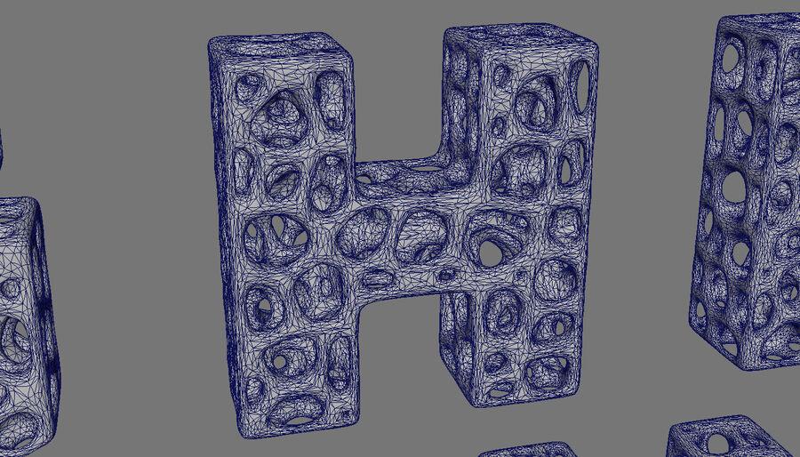 Voronoi bone structure alphabet royalty-free 3d model - Preview no. 4