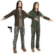 Stedelijke militaire mensen 3d model