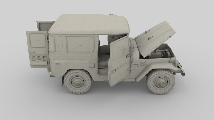 Toyota Land Cruiser FJ 40 with Interior and Chassis royalty-free 3d model - Preview no. 5