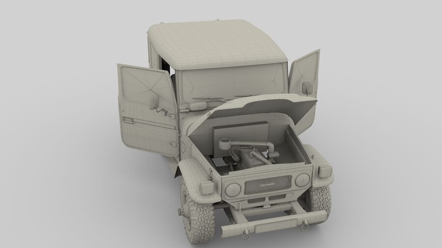 Toyota Land Cruiser FJ 40 with Interior and Chassis royalty-free 3d model - Preview no. 6